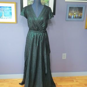 Your Time to Shine Metallic Green Maxi Dress